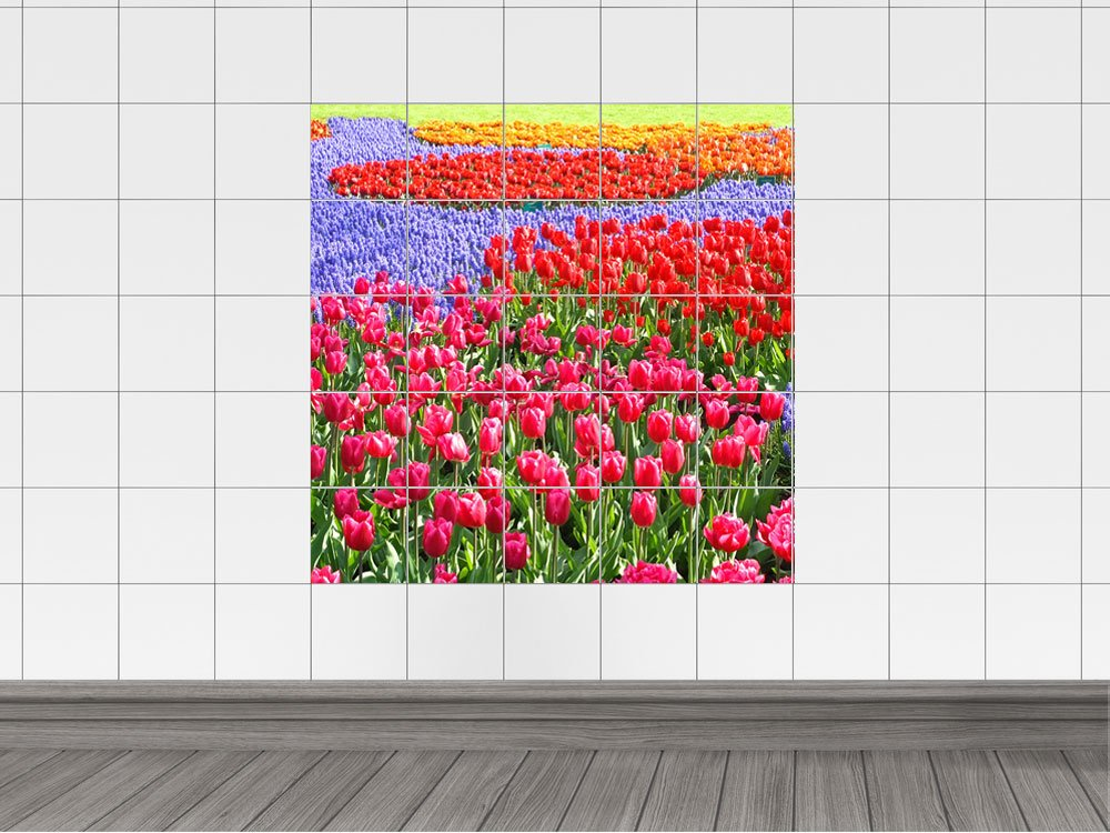 Piastrelle adesivo piastrelle stampa su fiori tulipani prato holland