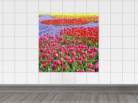 Piastrelle adesivo piastrelle stampa su fiori tulipani prato