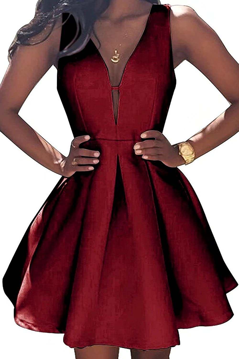 Burgundy JQLD Women's VNeck Aline Satin Homecoming Dress Short Evening Party Gown Ruched Skirt