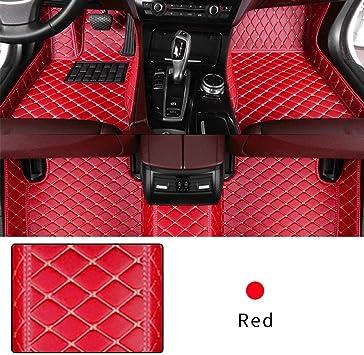 red Custom Car Floor Mats for 2014 2015 Tesla Model S Luxury Leather Waterproof Anti-Skid Full Coverage Front & Rear mat//Set
