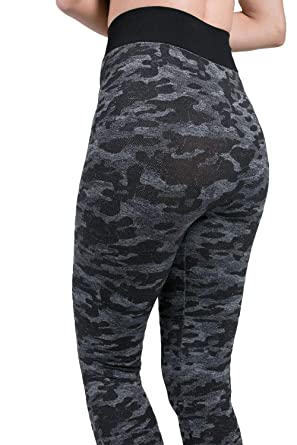 e8b242f3c55bb3 FREEMODE Women Camo Yoga Leggings Butt Lift High Waist Workout Gym Stretchy  Capri Yoga Pants (