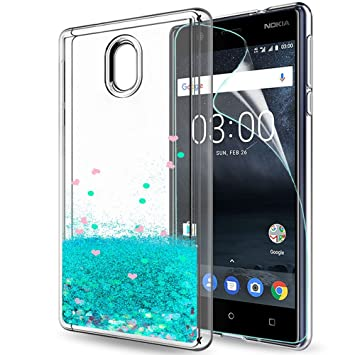 promo code a7427 1660c Nokia 3 Cover Case with HD Screen Protector, LeYi Glitter Liquid Sparkly  Bling Quicksand Cute Thin Clear Transparent TPU Gel Elastic Silicone ...