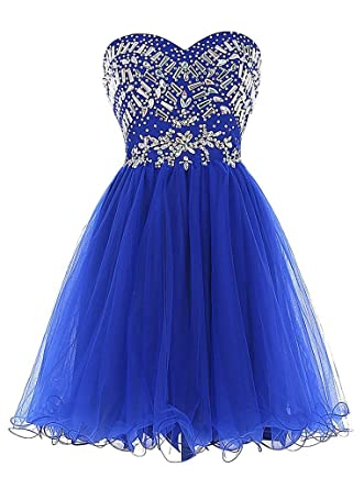 Elinadress Womens Short Sweetheart Beaded Prom Dress Tulle Homecoming Dress (Royal Blue)