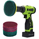 Kichwit 4 Inch Drill Power Brush Scrubber Scouring Pads, Includes Drill Attachment, 3 Red Pads and 3 Stiff Green Pads, Heavy Duty Household Cleaning Tool (Drill Not Included)