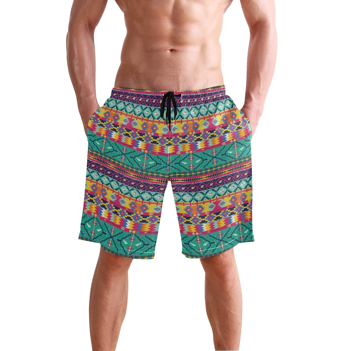 COVASA Mens Summer ShortsHorizontal Tribe Borders Collection with Birds and Ar