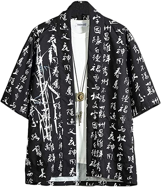 GUOCU Hombres Camisa Japonés Kimono Cardigan Yukata Estilo con Vintage Impresos Holgado Casual Chaqueta: Amazon.es: Ropa y accesorios