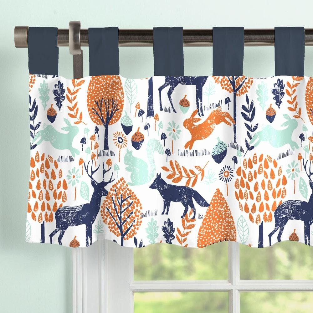 Carousel Designs Navy and Orange Woodland Window Valance Tab-Top by Carousel Designs