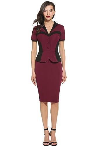 HOTOUCH Women V-Neck Short Sleeve Half Button Bodycon Business Party Pencil Dress