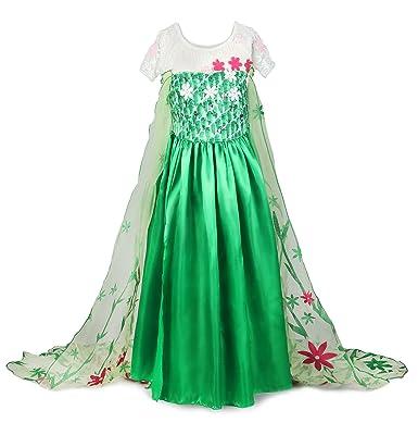 JerrisApparel Nuevo niña Disfraz Vestido de fiesta Princesa con flor del Cabo (110cm, Verde
