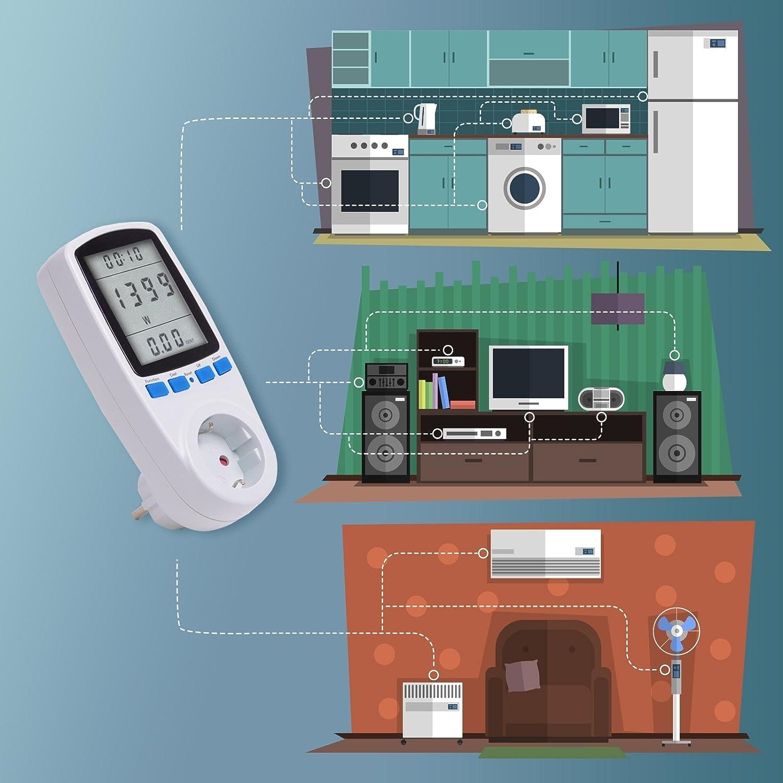 Tevigo Medidor & contador de consumo electrico y costes energéticos | Indicador de tiempo/energía/costes: Amazon.es: Electrónica