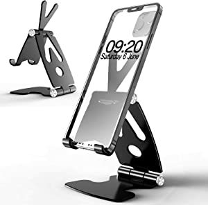 "Cell Phone Stand for Desk, Damipow Adjustable Cellphone Holder [Fully Foldable], Anti-Slip Base and Scalable Support Compatible with 4-10"" Mobile Devices, iPhone, Samsung, iPad, Tablet, Kindle - Black"