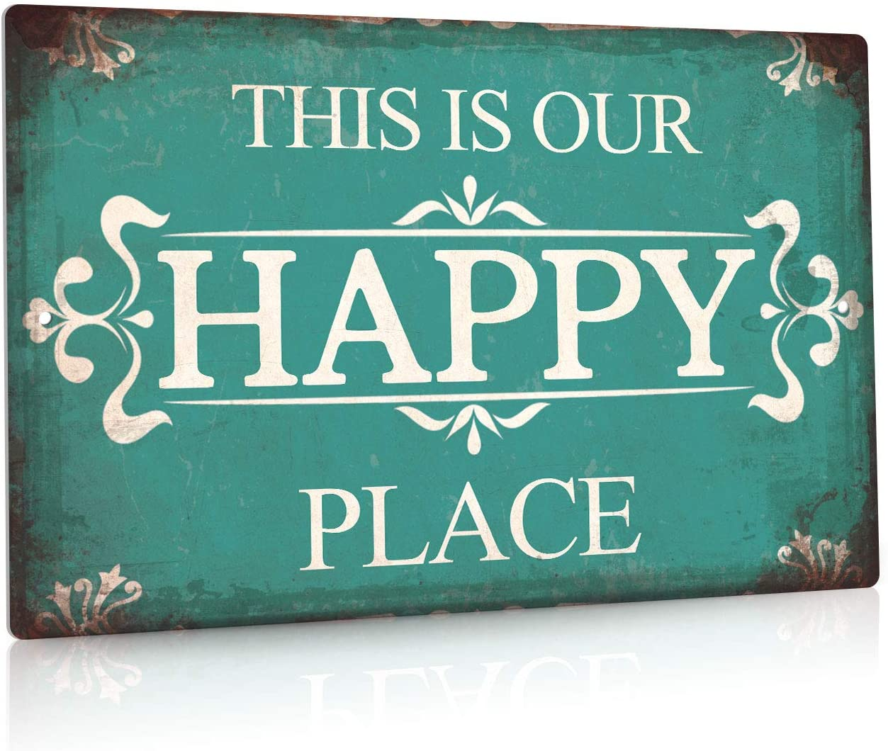 Putuo Decor Porch Sign, Porch Decor for Home, Bar, Farmhouse, 12x8 Inches Aluminum Metal Wall Sign - This is Our Happy Place