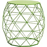 Joveco Metal/ Iron Wire Structure Curved Stool/ End Table/ Side Table with Triangle Pattern - Green