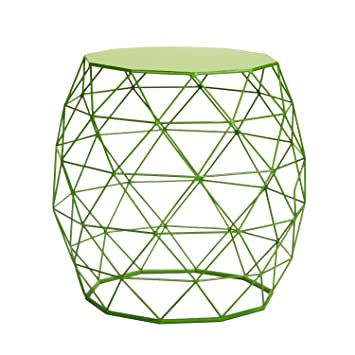 Homebeez Wire Round Iron Metal Stool Side Table /Coffee Table/Sofa Table  (Green
