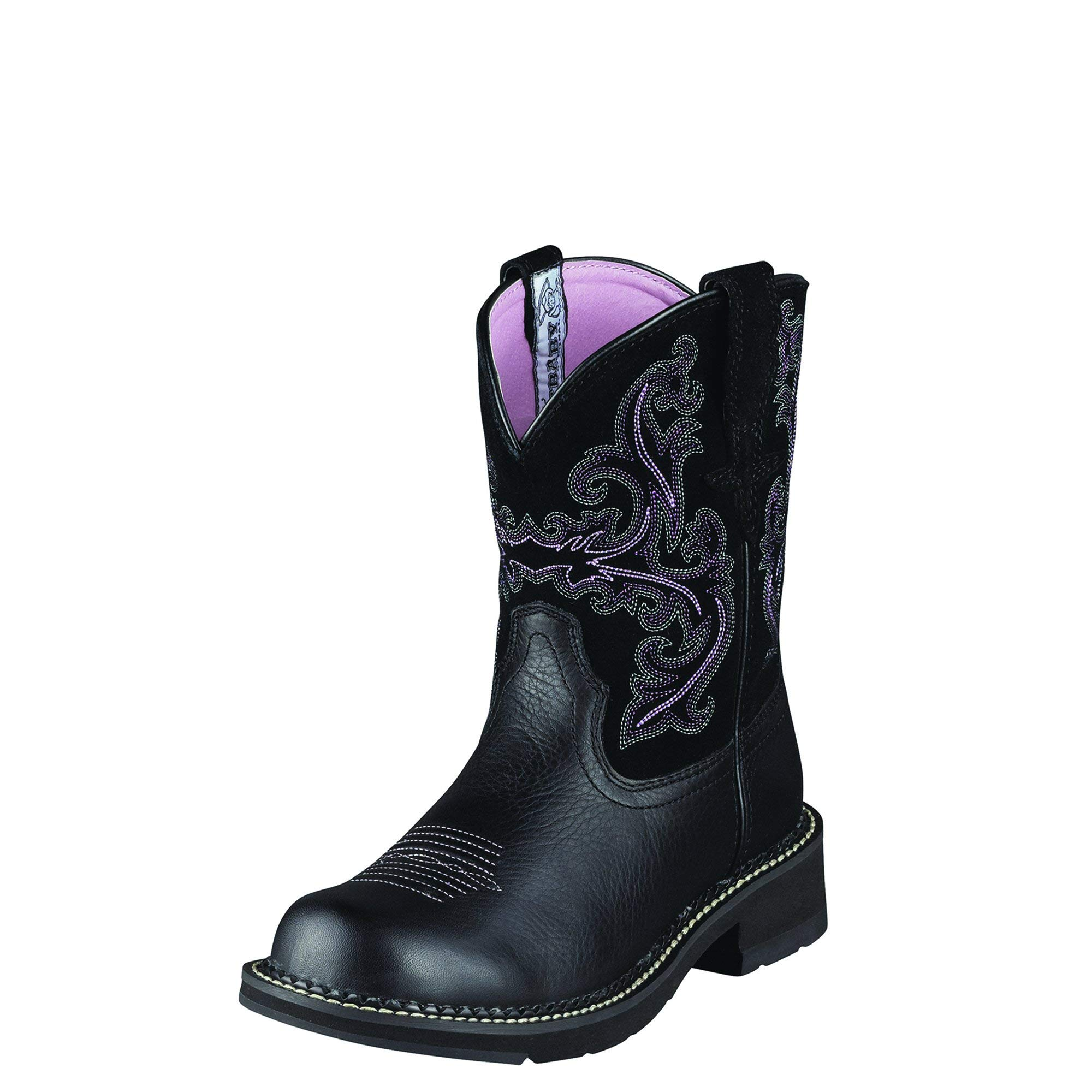 Ariat Women's Fatbaby II Western Cowboy Boot, Black Deertan/Orchid, 8 M US by ARIAT