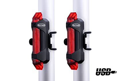 eb8dcdfe00b Image Unavailable. Image not available for. Color  Outair USB Rechargeable  Bicycle Light Front and Tail Set 5 LEDs 4 Modes Head Back Bike