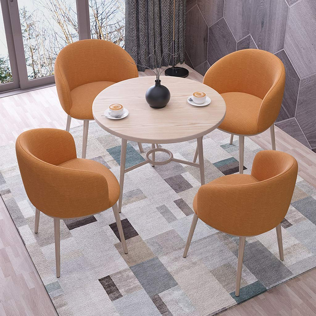 Retro loungestolar, tyg träben mottagningsstol västerländsk restaurang balkong uteplats liten rund bord stol kombination (färg: Kaki) Orange