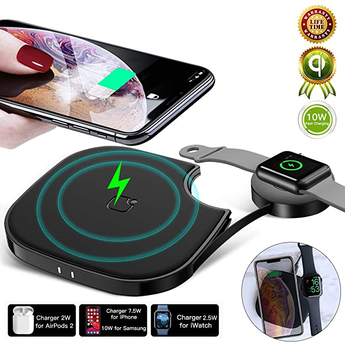 10W Wireless Charging Pad, 2 in 1 Qi Wireless Charger [Fast Charge] Compatible with iPhone Xs Maxxrxs Samsung S10s10 Pluss10e iWatch 4321 Dual