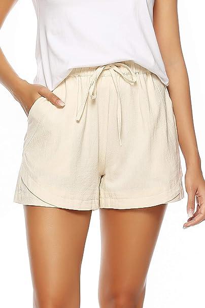 Amazon.com: LNX - Pantalones cortos de lino para mujer, con ...
