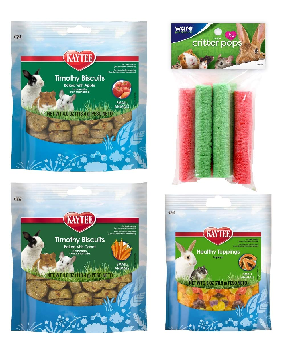 Rabbit Treats and Chews - Bunny Treats for Rabbits - (4 Bags) Timothy Biscuits Apple Rabbit Treats Carrot Papaya Treats for Small Animals Snacks Rice Pops - Best Value + Free Instruction by Bright SunRise
