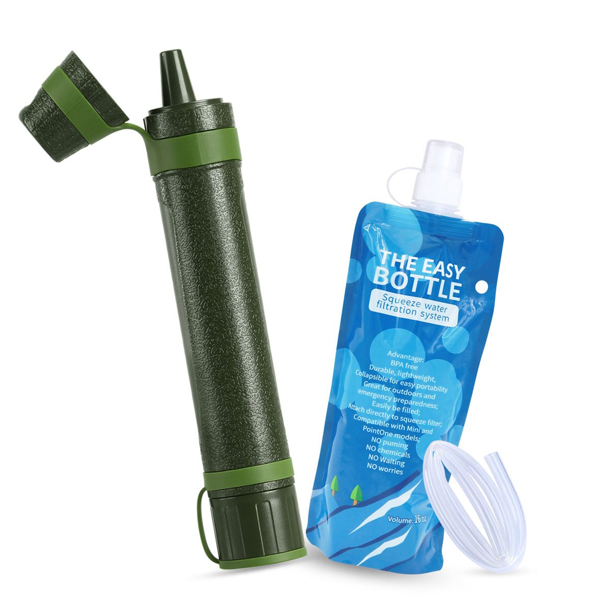 Axmda Mini Filtro de Agua Portátil Paja de Filtro para Camping Senderismo