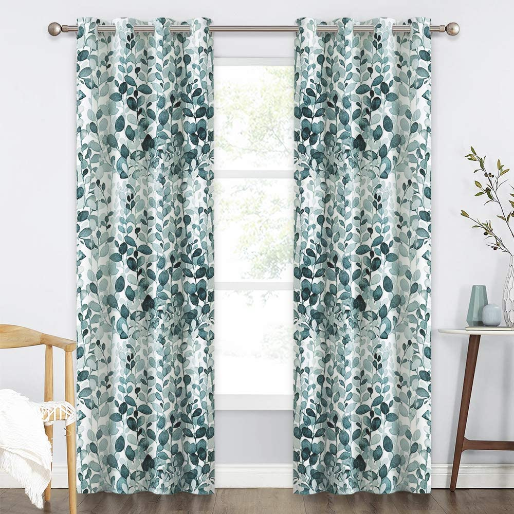 KGORGE Botanical Garden Artwork Printed Curtains, Grommet Top Room Darkening Drapes Gradient Color Print on White Background, 52 x 95 inches, 1 Pair, Green-Blue