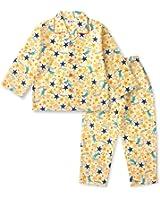 【ノーブランド品】 綿100% 長袖 キッズ パジャマ 春 秋 向け 恐竜とキラキラ星のパジャマ ボーイズ 110サイズ クリーム