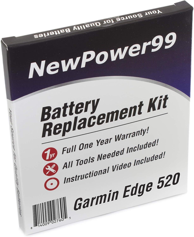 NewPower99 - Kit de batería de Repuesto para Garmin Edge 520 con ...