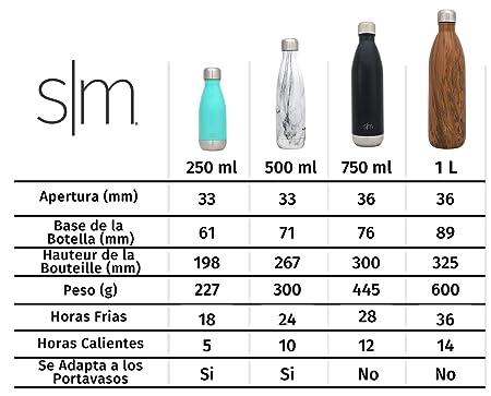 Simple Modern Wave 250 mL (9oz) Termo Botella de Agua - Acero Inoxidable 18/8, Doble Pared y Aislamiento Al Vacío Jarra Petaca Cantimplora Aislado ...