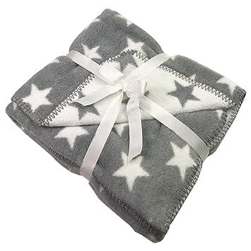 Decke Sterne weiche baby kuscheldecke decke baby sterne weiß grau mit