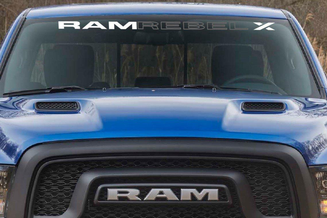 Amazon com jis decals generic dodge ram rebel x windshield decal white 50 inch automotive