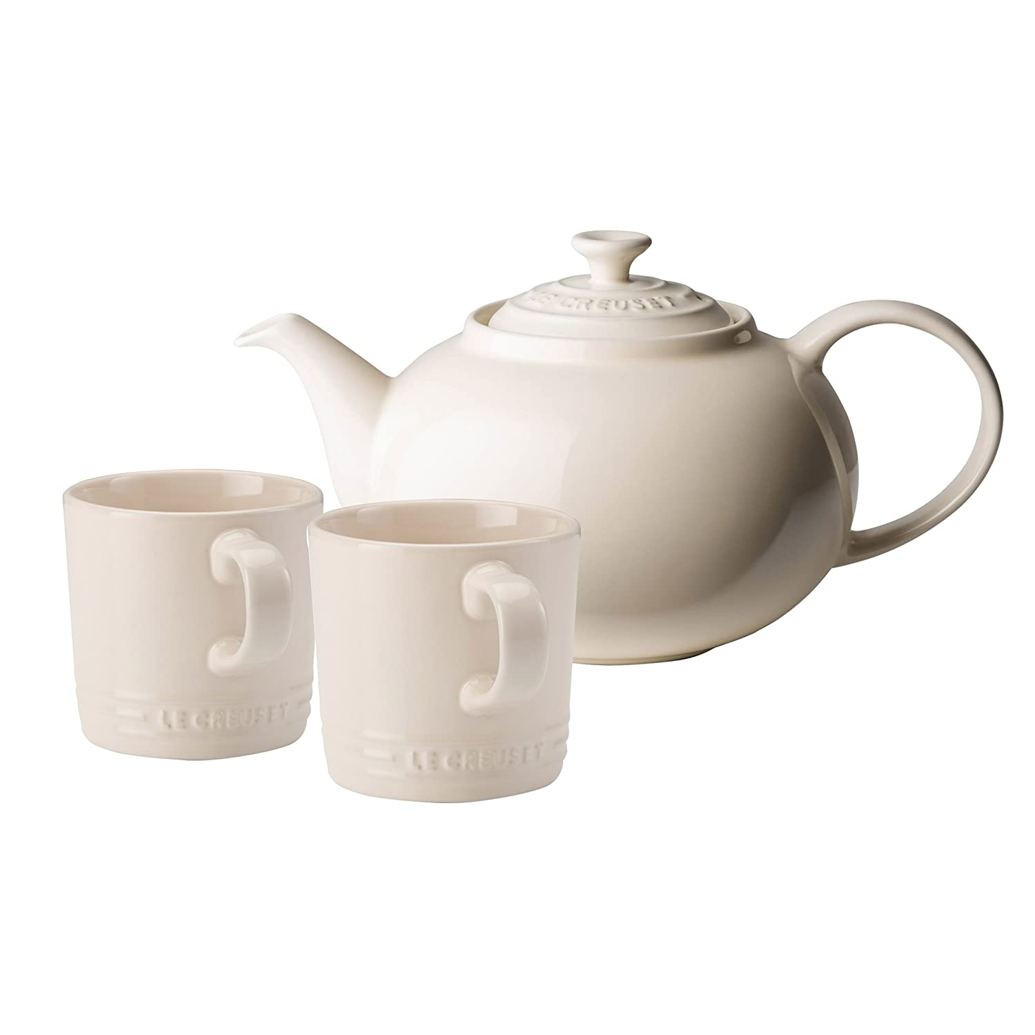 Le Creuset Stoneware Classic Teapot with two Mugs, 1.3 L - Almond