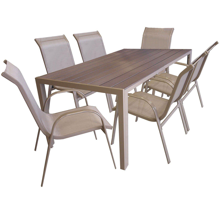 7tlg gartengarnitur sitzgruppe gartenm bel set aluminium gartentisch mit polywood tischplatte - Polywood gartenmobel ...