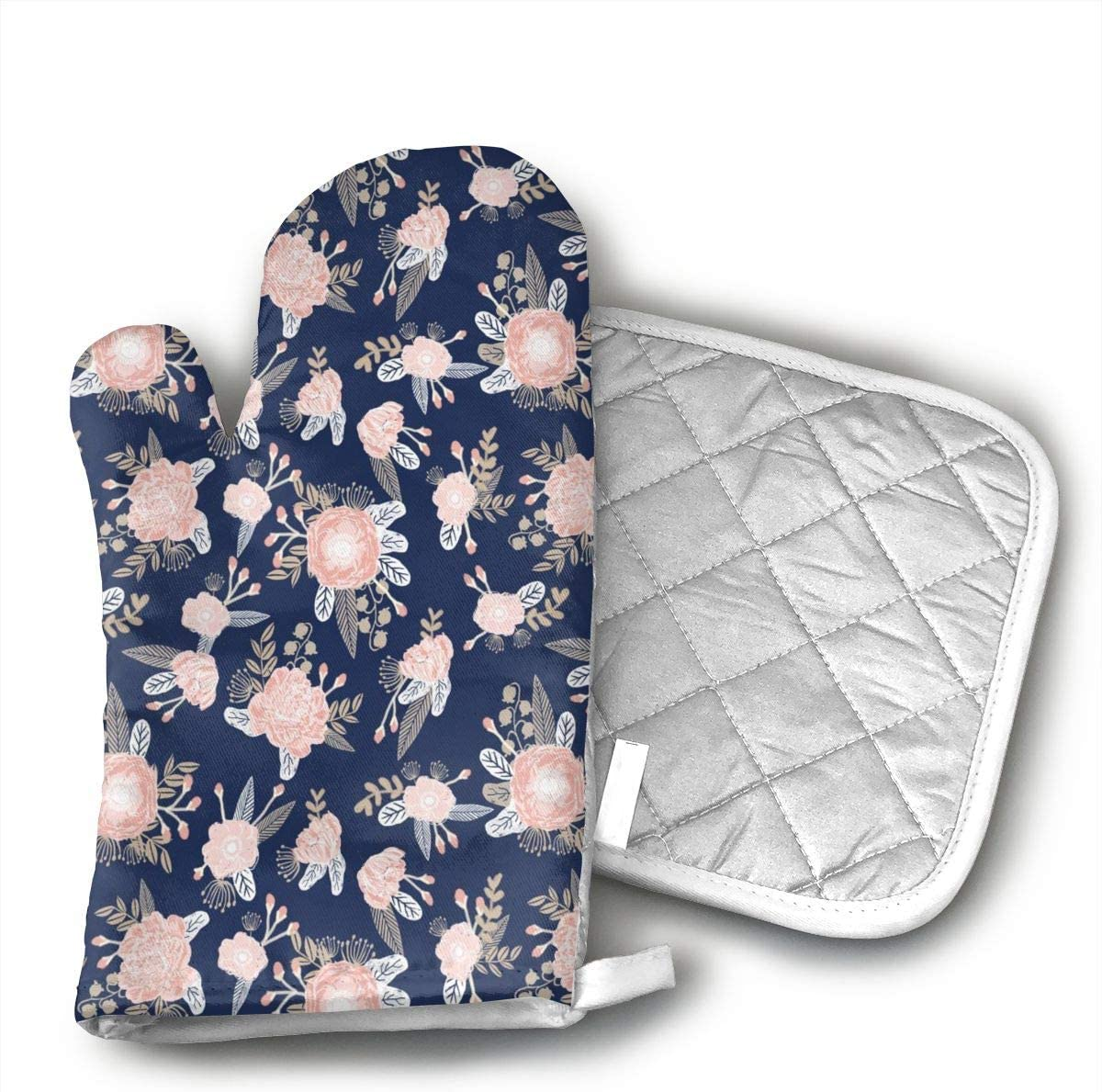 Florals Navy Blush Pink Floral Oven Mitts and Potholders (2-Piece Sets) - Kitchen Set with Cotton Heat Resistant,Oven Gloves for BBQ Cooking Baking Grilling