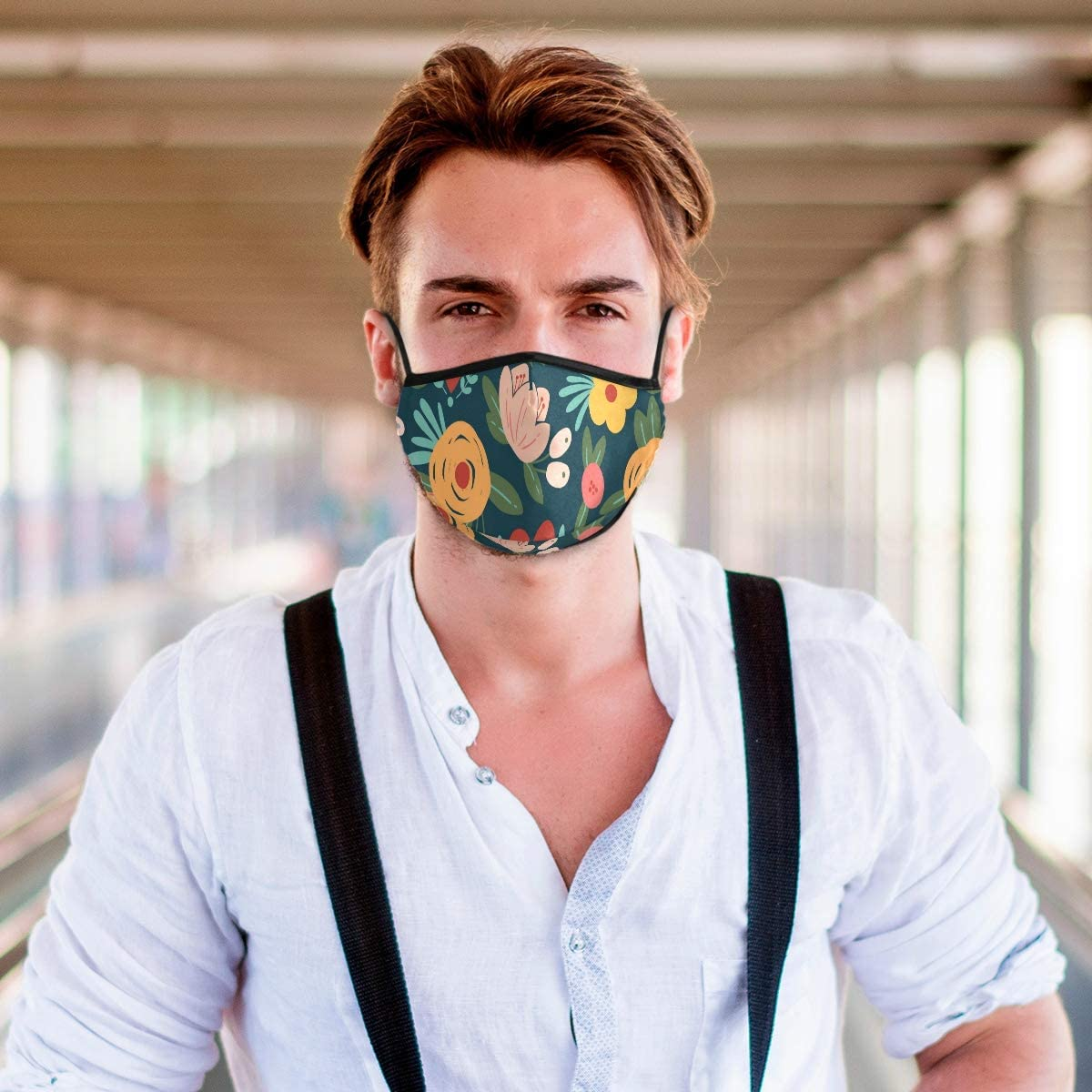 Face Mouth Cover with Activated Carton Filters Cute Floral Pattern Soft Touch Reusable Dustproof Unisex Face Protection
