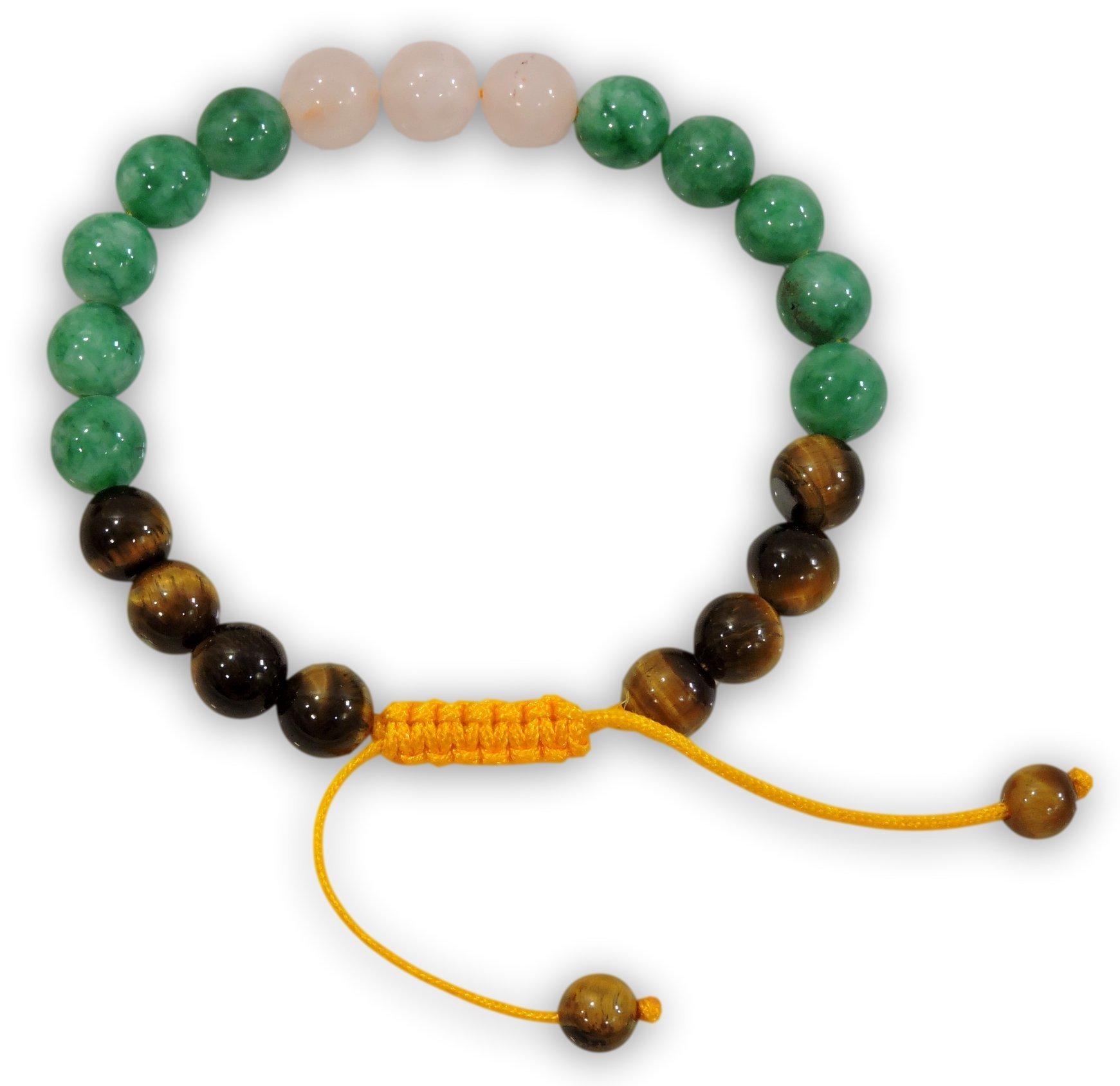 Hands Of Tibet Tibetan Mala Tiger Eye Green Jade Rose Quartz Wrist Mala Yoga Bracelet