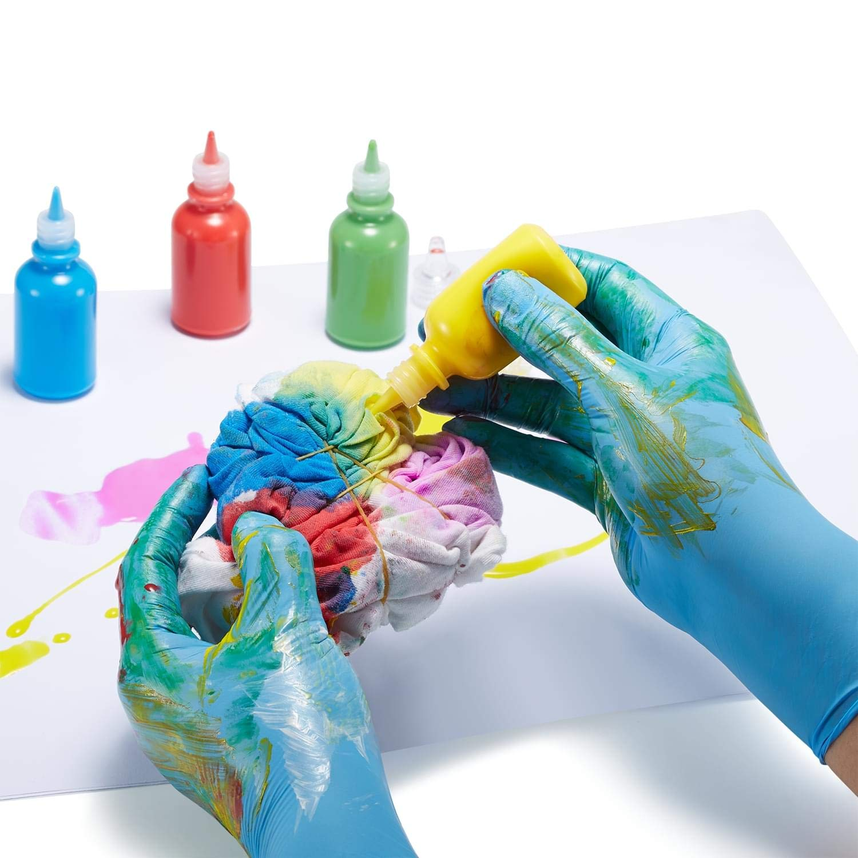 pittura cucina pulizia senza lattice 100 pezzi senza polvere per artigianato Guanti usa e getta per bambini in nitrile per 7-14 anni blu giardinaggio per uso alimentare