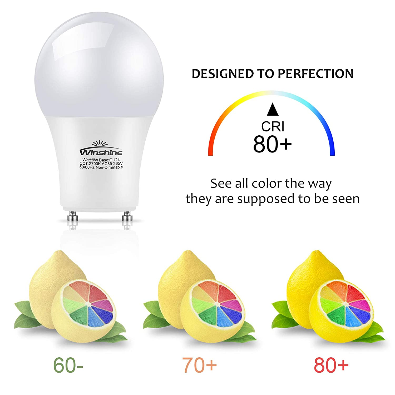 Winshine Dimmable GU24 Light Bulb LED A19 Shape 9W with GU24 Twist-in Base 60w Equivalent 900lm Pack of 6 2700K
