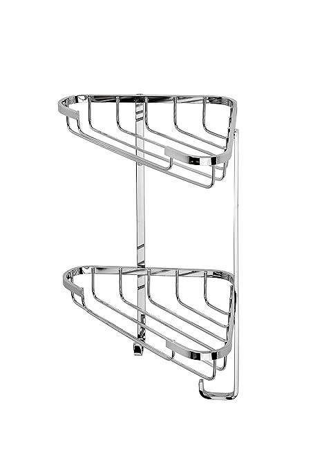 Croydex QM390841 - Estantería esquinera de Acero Inoxidable para Ducha (2 estantes, tamaño pequeño)