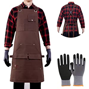 Aeegulle Work Apron, Heavy Duty Waxed Canvas Tool Apron (With work gloves), 6 Pockets, Thick shoulder pad, Quick Release Buckle, Cross-Back Straps Adjustable M to XXL, Apron for Men & Women (brown)