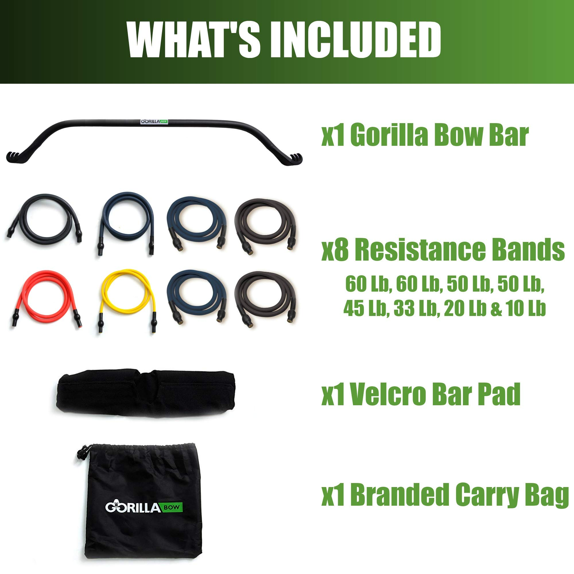 Gorilla Bow Portable Home Gym Resistance Band System - Heavy Set | Weightlifting & HIIT Interval Training Kit | Full Body Workout Equipment (Heavy Set - Black) by Gorilla Fitness (Image #2)