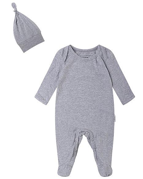 8e283b323ba5 Kidsform Unisex 2-Piece Footie Cap Set Baby Cotton Romper Coverall Newborn  Onesie Bodysuit Pajamas