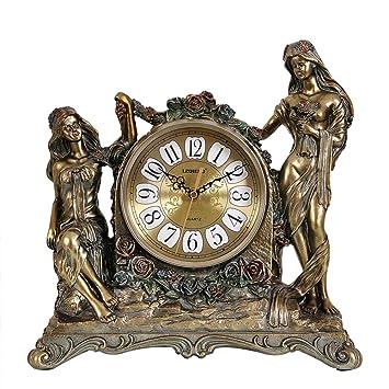 relojes antiguos de América reloj Sala de ideas decoración de ornamentos reloj silenciosa europea clásica reloj de mesa Bell-A: Amazon.es: Hogar