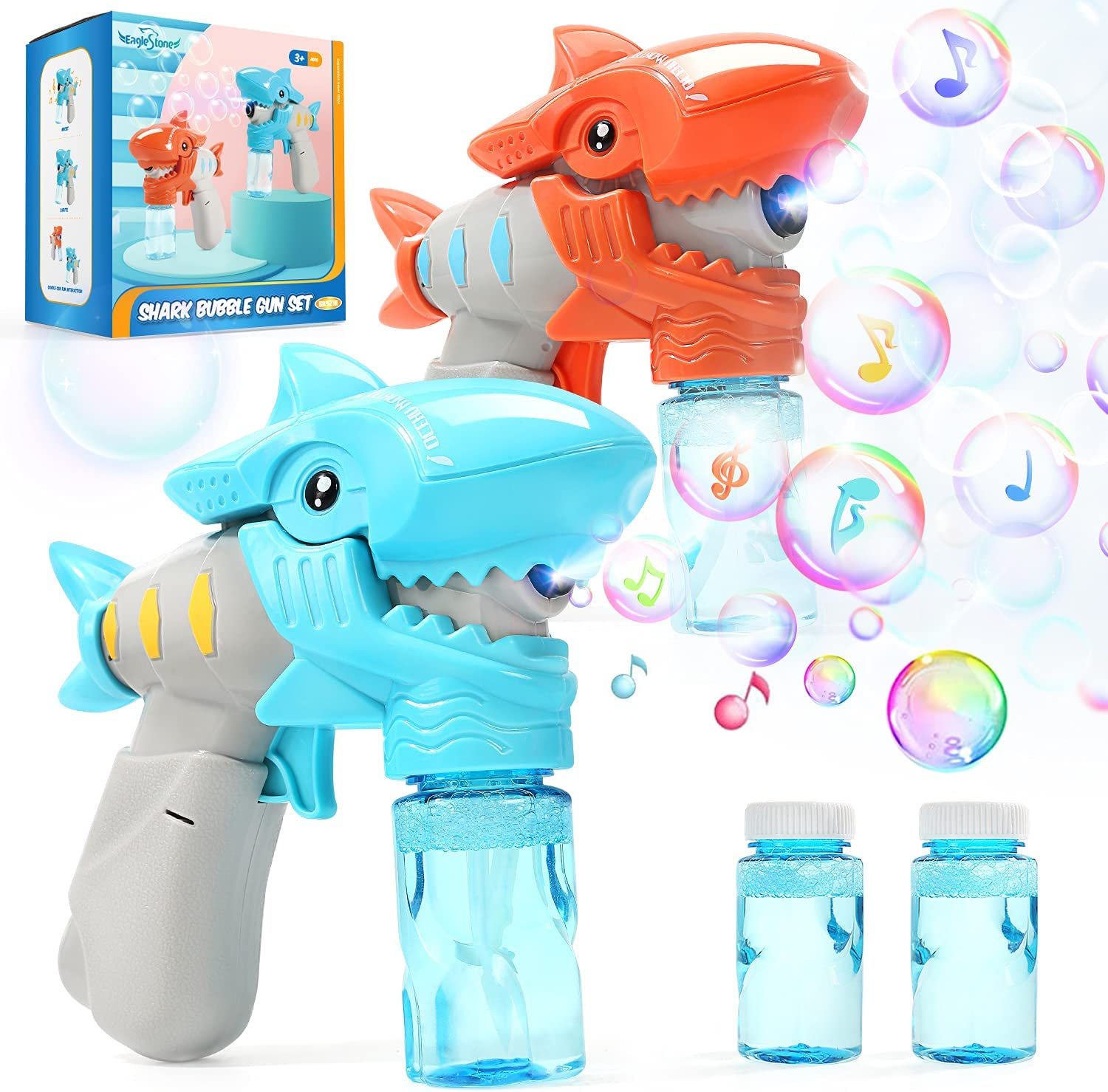 2 Bubble Gun for Kids,Light-Up and Musical Automatic Shark Bubble Blower Toys with 4 Bubble Solution,Fun Summer Outdoor Party Gift for 4 5 6 7 8+ Years Old Toddlers Boys GirlsBubble Maker Machine