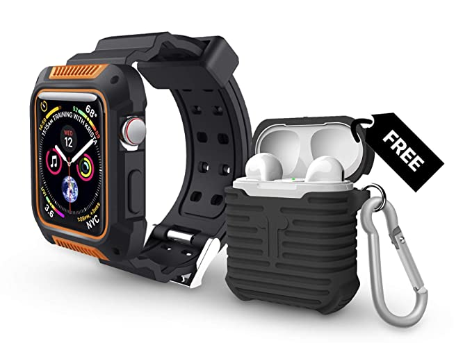 half off 6d439 223bd Apple Watch Series 4 44MM Rugged Protective Black/Orange Case with Strap  Band Plus Free Black AirPods Silicone Protective Case Cover. Water Resistant