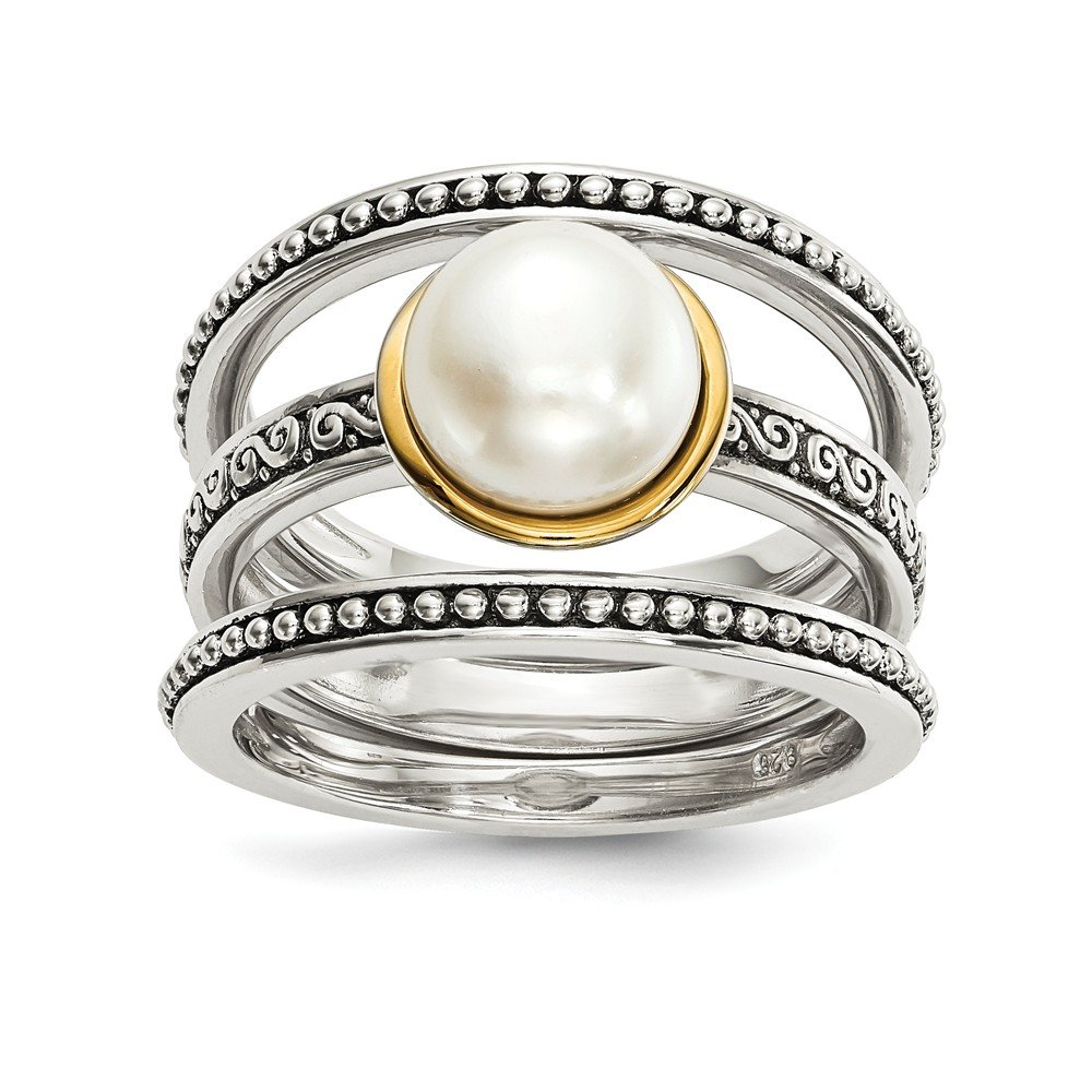 925 Sterling Silver 14k 8mm Button Freshwater Cultured Pearl Set Of 3 Band Rings Size 8.00 Ring Cz Fine Jewelry Gifts For Women For Her
