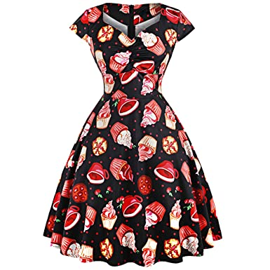 1950s Pinup Rockabilly Dress Retro 3D Cake Print Dresses Women Party Vestidos