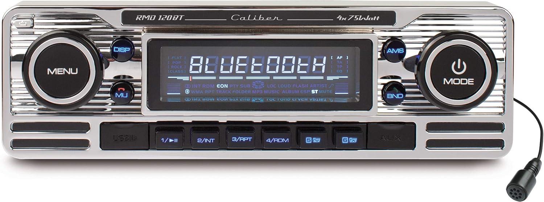 Caliber Rmd120bt Retrodesign Autoradio Mit Bluetooth Freisprechanlage Sd Kartenslott Usb Anschluss Chrome Silber Elektronik