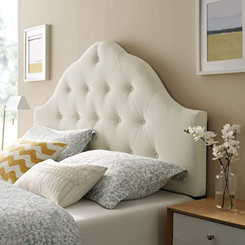 Modway Sovereign Tufted Button Linen Fabric Upholstered King Headboard in Ivory