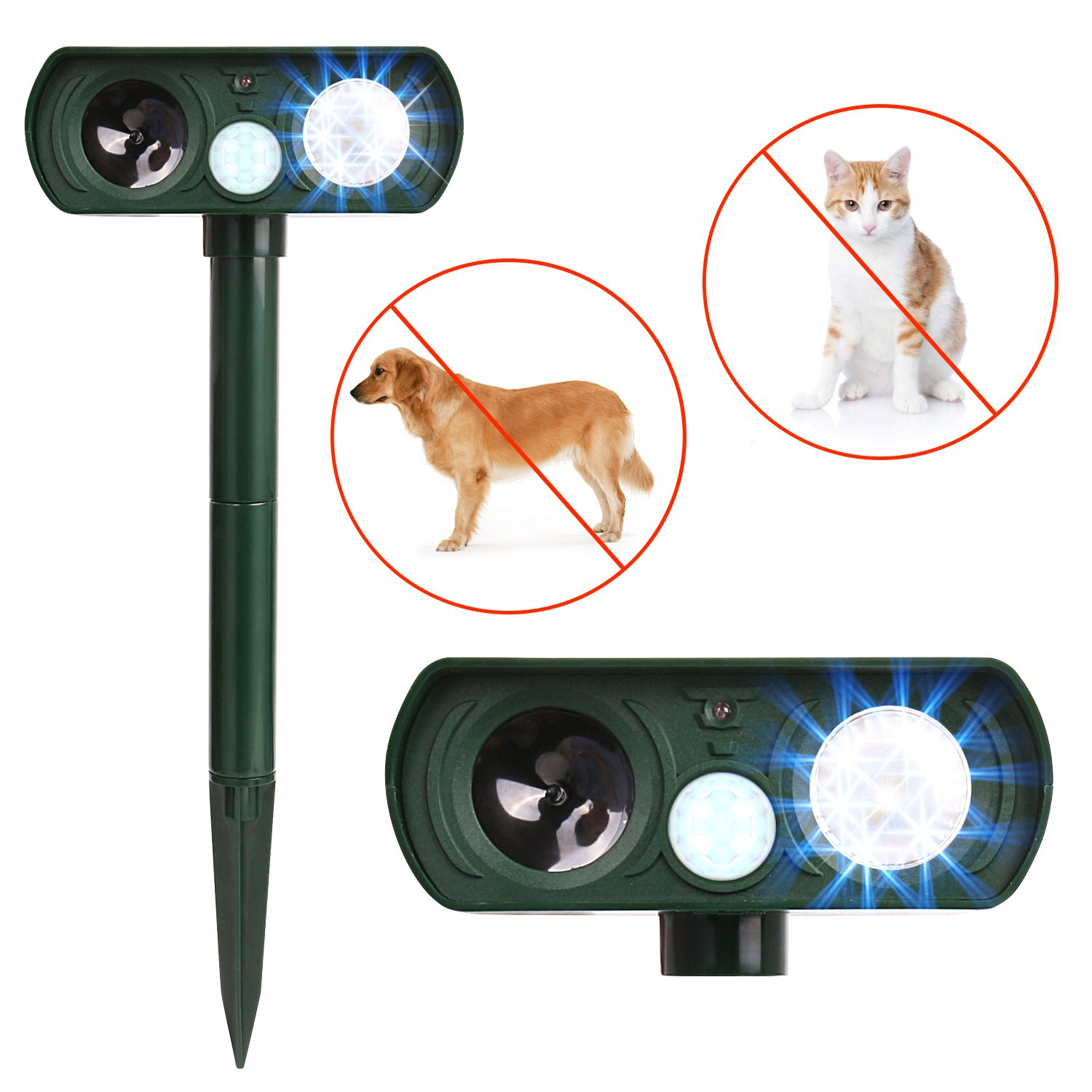 APlus+ Dog Cat Repellent, Ultrasonic Pest Repellent with Motion Sensor and Flashing lights Outdoor Solar Powered Waterproof Farm Garden Yard repellent, Cats, Dogs, Foxes, Birds, Skunks, Rod